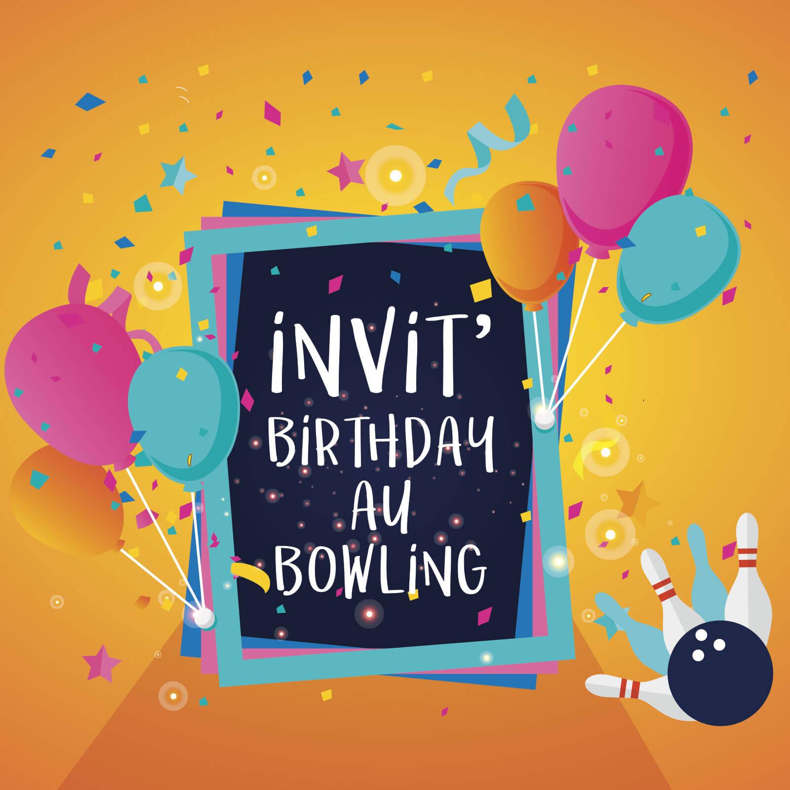 Carton d'invitation anniversaire au bowling